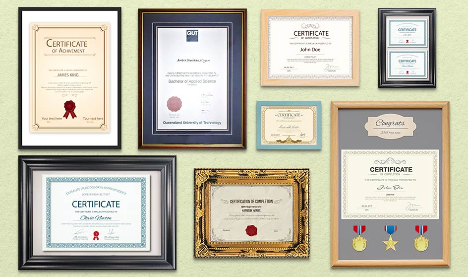Many different frames for certificates
